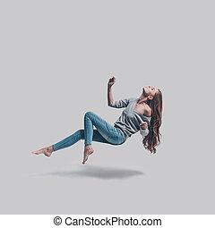 hålla, fyllda, skott, beauty., mid-air, ung, luft, svävande...