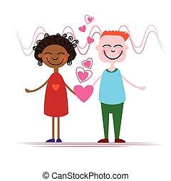 hålla, hjärta, par, kärlek, form