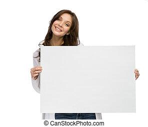 hålla, kvinna, copyspace, smiley