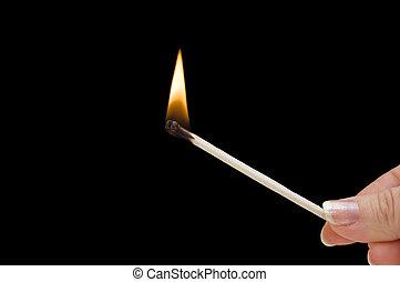 hålla lämna, brännande, stubin stick, på, svart