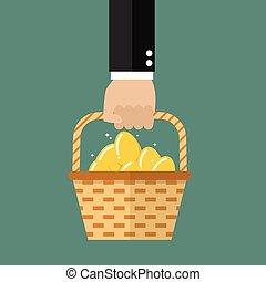 hålla lämna, flätverk korg, med, gyllene, ägg