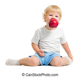 hålla, mun, äpple, unge