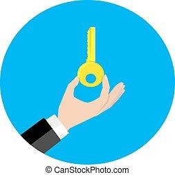 hålla, vektor, nyckel, hand