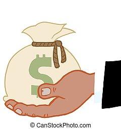 hållande pengar, säck, svart, hand