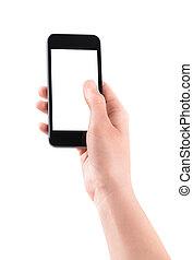 hållande rörlig, smartphone, med, nit skärma