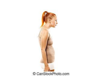 hållning, kvinna, ung, defekt