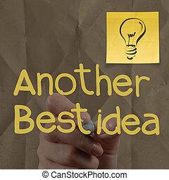 hånd, affattelseen, lightbulb, klæbrig notere, hos, en anden, ide, lys pære, på, crumpled avis, idet, kreative, begreb