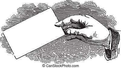 hånd, branche card, holde