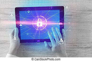 hånd, bruge, tablet, hos, netværk security, og, online, lagring, syste