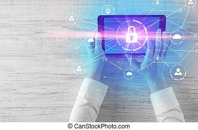 hånd, bruge, tablet, hos, netværk security, og, online, system magasinering, begreb