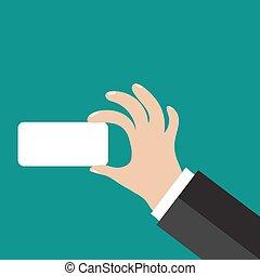 hånd, card., firma, holde
