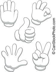 hånd, cartoon, tegn