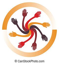 hånd, cirkel, design.