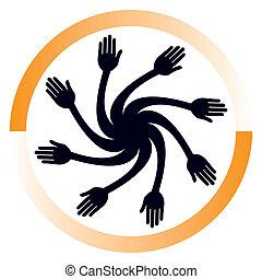 hånd, design.