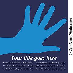 hånd, design., enkel