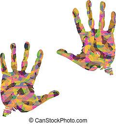 hånd, farverig