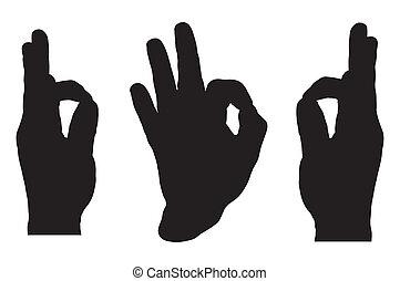 hånd, godkend tegn