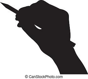 hånd, greb, blyant, silhuet, vektor