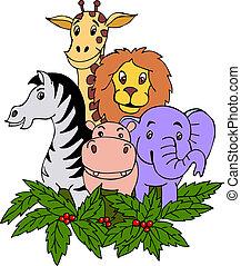 hånd, hæve, safari, dyr
