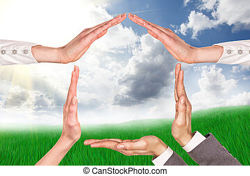 hånd, hjem, symbol