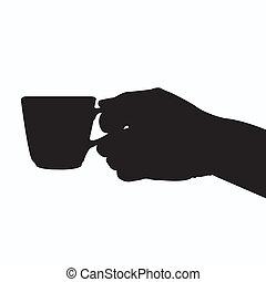 hånd holde kaffe, kop, silhuet