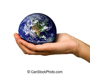 hånd holde verden