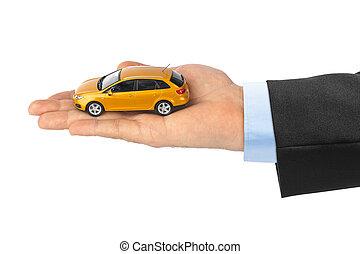 hånd, hos, automobilen
