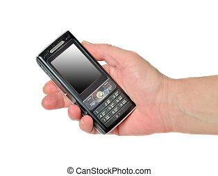 hånd, hos, bevægelig telefoner.