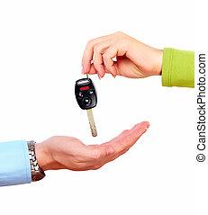 hånd, hos, en, automobilen, key.