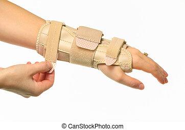 hånd, hos, en, håndled afstivning