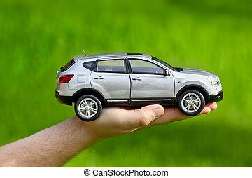hånd, hos, legetøj vogn
