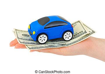 hånd, hos, penge, og, legetøj vogn