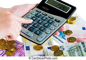 hånd, hos, regnemaskine, og, penge