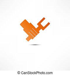hånd, hos, skiftenøgl, ikon