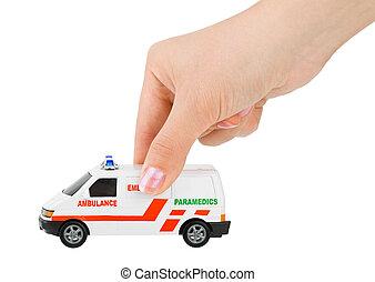 hånd, hos, stykke legetøj, ambulance, automobilen