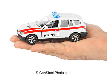 hånd, hos, stykke legetøj, politi vogn