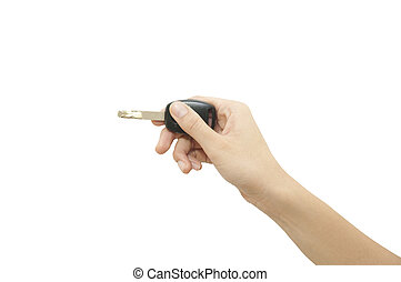 hånd, hos, vogn nøgle