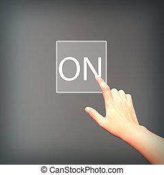 hånd, i, firma, skubbe, en, download, knap, en, berøring skærm, grænseflade