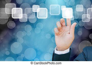 hånd, i, kvinder branche, skubbe en knap, på, en, berøring skærm, grænseflade