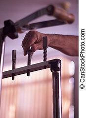 hånd, i, mand, ind, fysioterapi, rehabilitering, af, orthopedic, surg