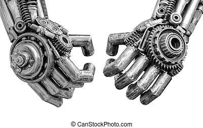 hånd, i, metallisk, cyber, eller, robot, lavede, af,...