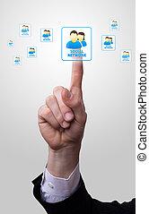 hånd, ikon, påtrængende, netowork, sociale