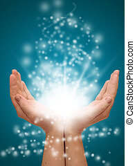 hånd ind hånd, åbn, hos, glødende, lys