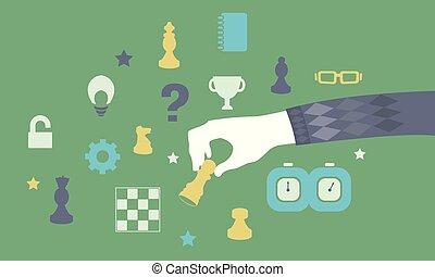 hånd, lejlighed, boldspil chess, illustration