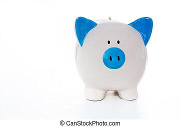 hånd, mal, blå hvide, piggy bank