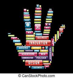 hånd, nyhed, begreb