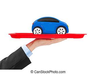 hånd, og, bakken, hos, automobilen