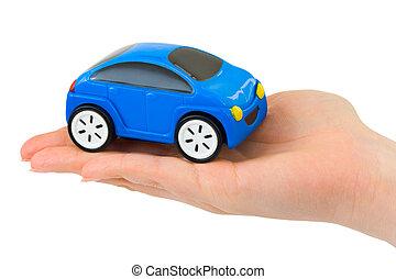 hånd, og, legetøj vogn