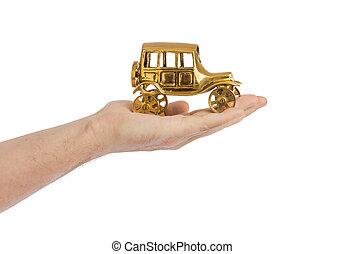 hånd, og, stykke legetøj, vogn vinhøst