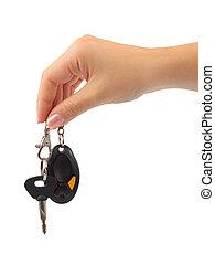hånd, og, vogn nøgle